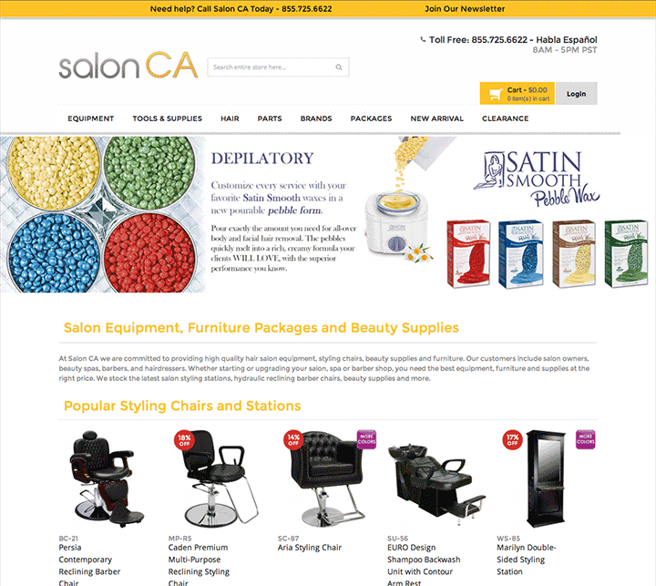 salonca website screenshot